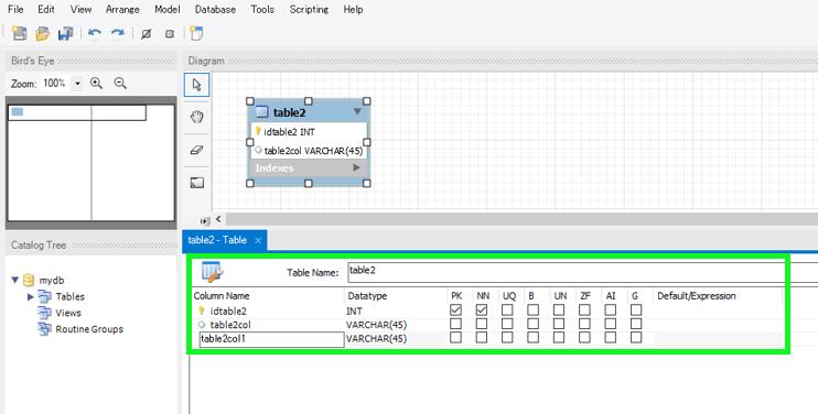 モデリングでテーブル名を変更したりアトリビュートを追加できる